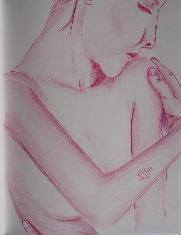 dessin de femme main feutre crayons