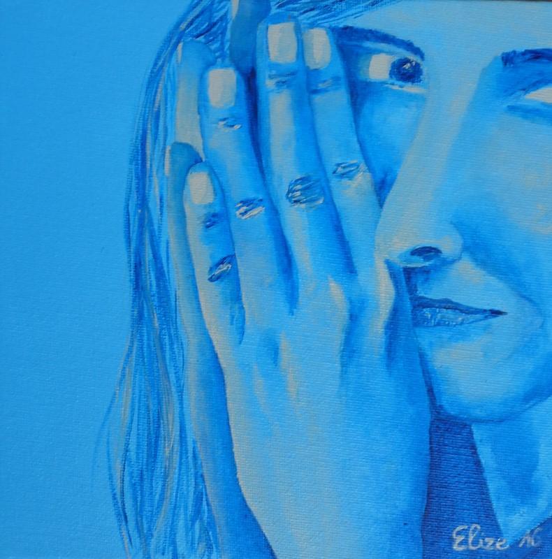 peinture bleu elize main femme