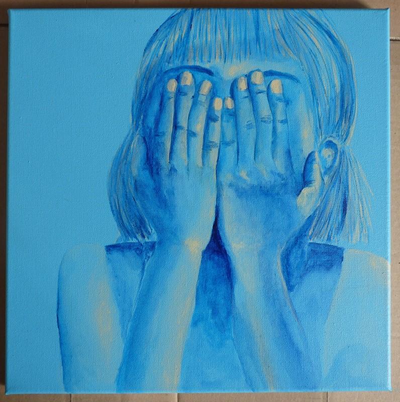 peinture elize fillette bleu aquarelle