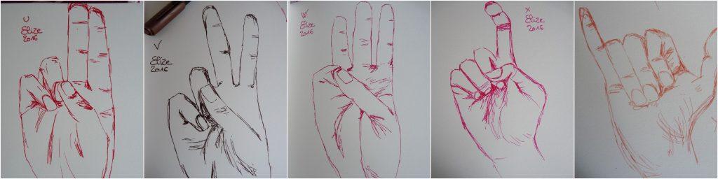 alphabet langue des signes anglais dessins de main