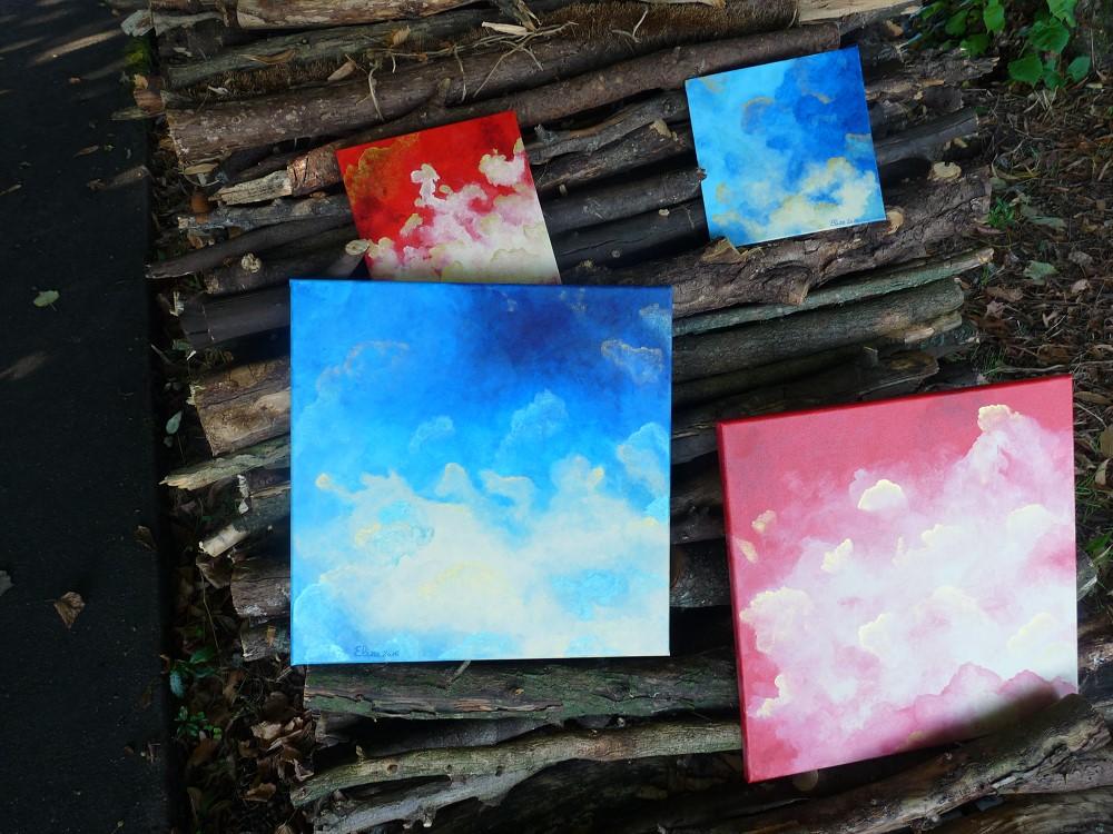 nuages en perspective grand dans la nature rouge météo bleu