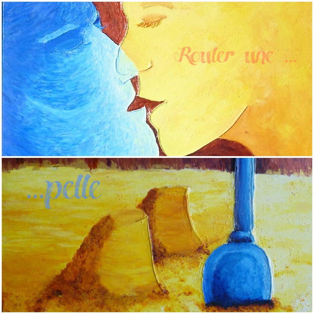 baiser couple plage pelle chateau tableau elize