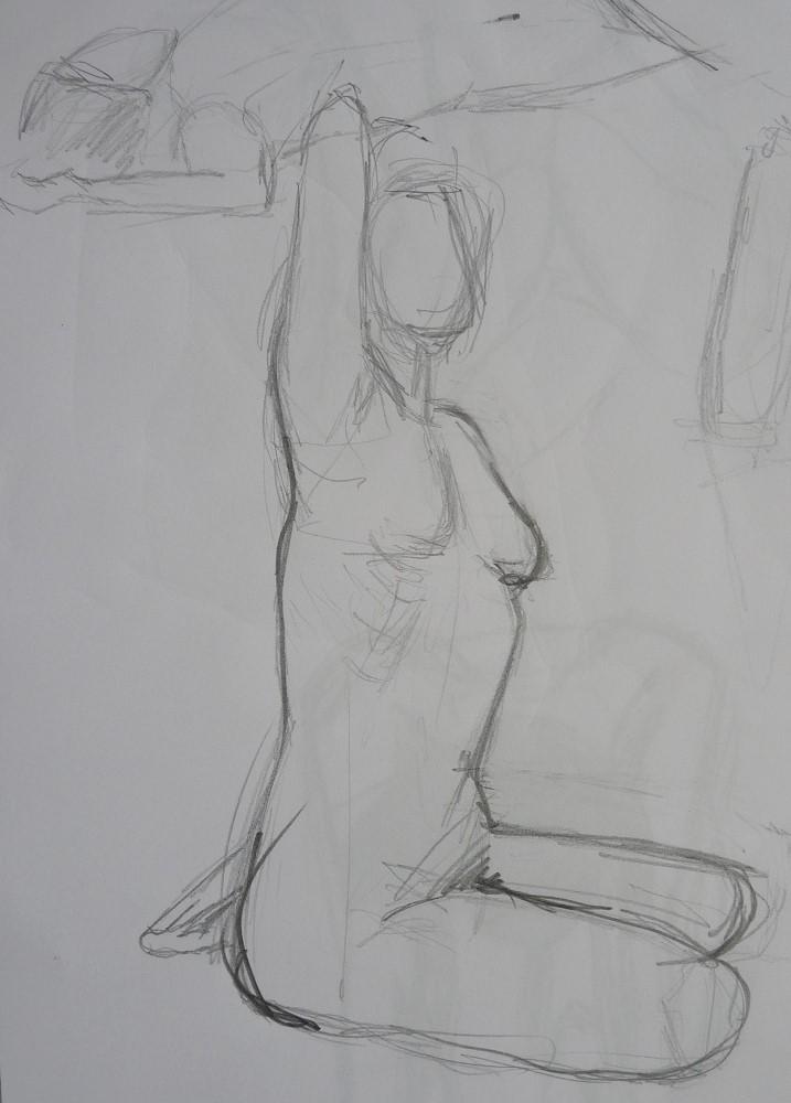 femme assise dessin crayon bras levé