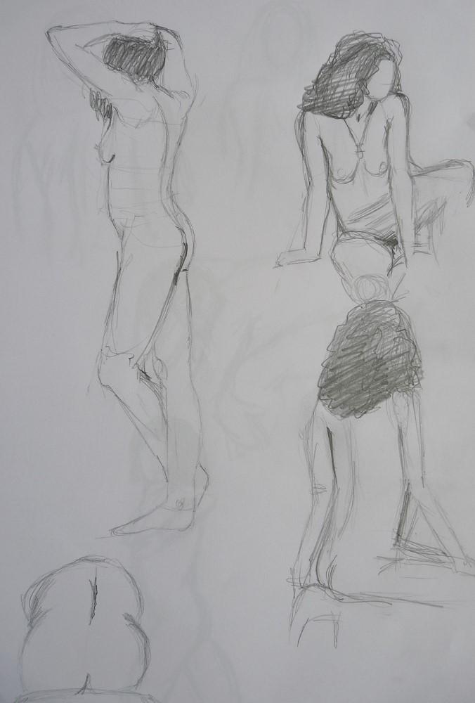 croquis esquisse modèle vivant femme debout assise dessin crayon