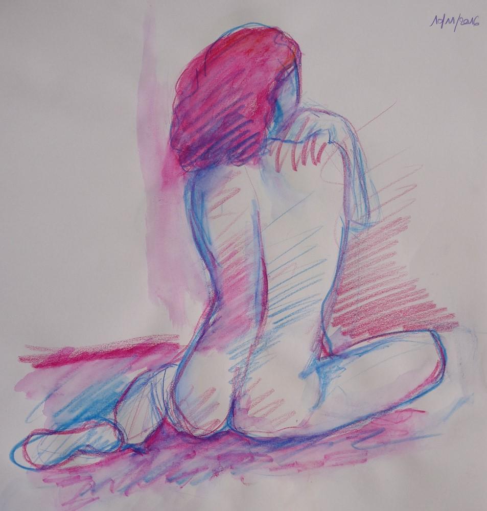 femme assise de dos en couleurs rose et bleu cheveux dessin aquarelle modèle vivant