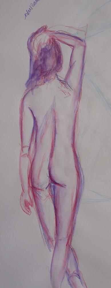 modèle vivant debout de dos, femme se tenant les cheveux couleurs rose et bleu