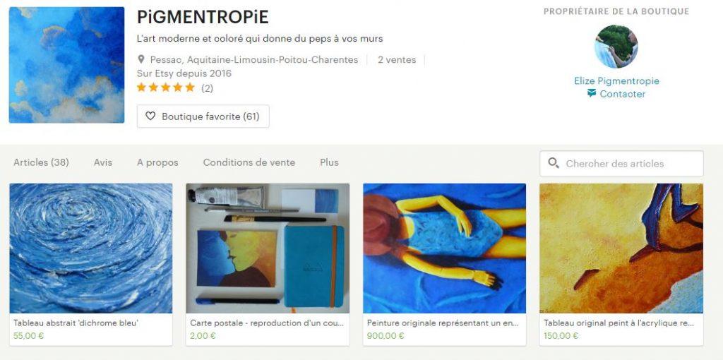 boutique etsy elize pigmentropie tableau artistique