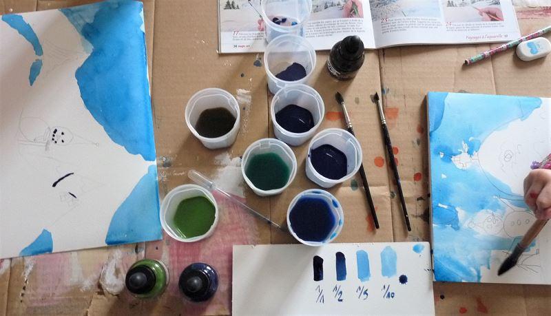 encre peinture pinceau nuance dilluer