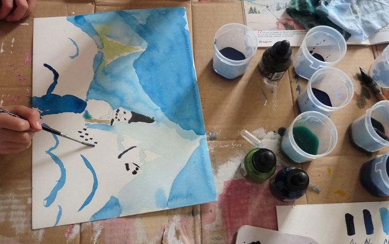 dessin enfant peinture encre