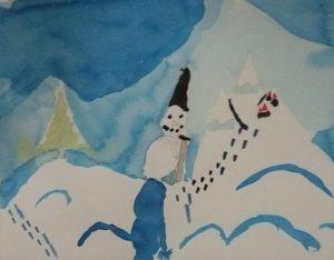 sapin bonhomme de neige montagne