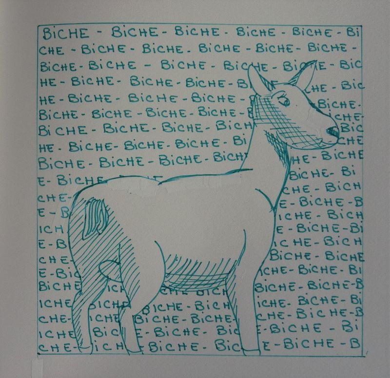 biche dessin au feutre vert elize