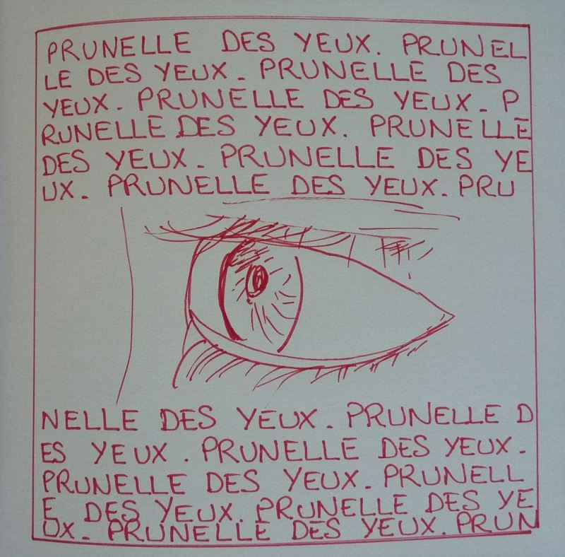 oeil yeux dessin au feutre rouge elize