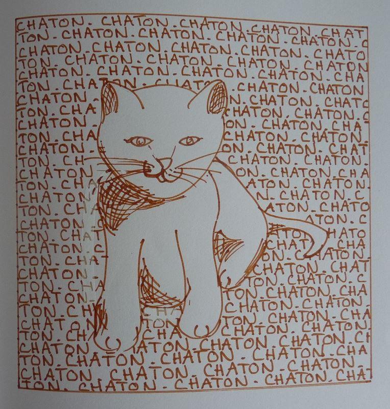 chaton dessin au feutre marron elize