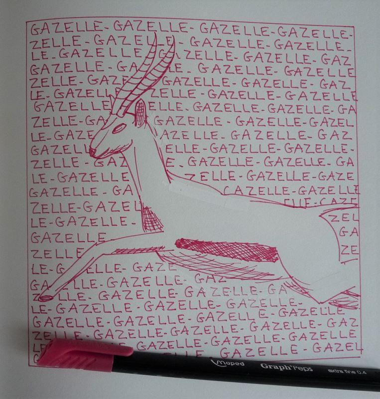 gazelle sautant dessin au feutre rose elize