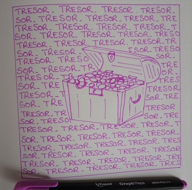 trésor dessin au feutre rose elize