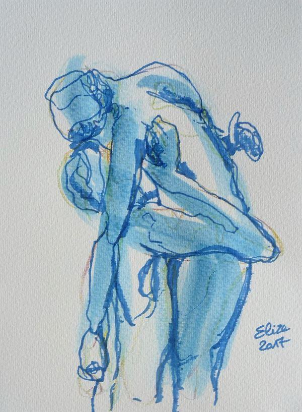 Camille Claudel dessin de la scullpture l'abandon par elize, à l'encre crayon bleu