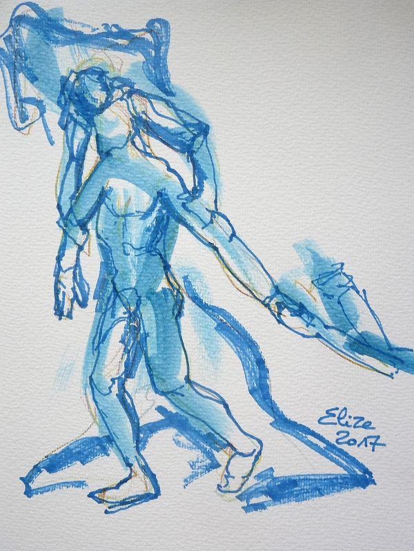 Camille Claudel dessin de la destinée ou le chemin de vie par elize, à l'encre crayon bleu