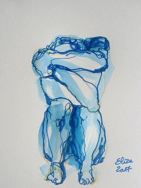 Camille Claudel dessin de la scullpture femme acroupie de face par elize, à l'encre crayon bleu