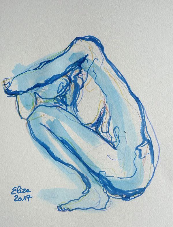Camille Claudel dessin de la scullpture femme acroupie de côté par elize, à l'encre crayon bleu