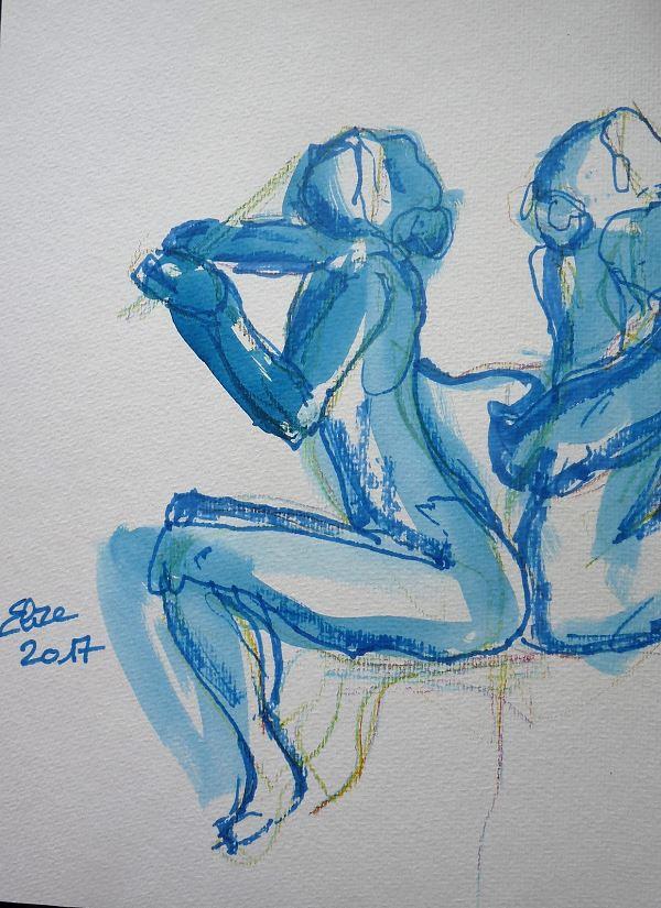Camille Claudel dessin de la sculpture la joueuse de flute ou sirene par elize, à l'encre crayon bleu