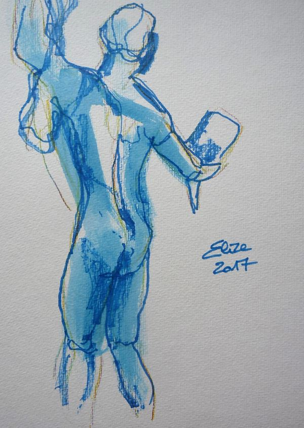 Camille Claudel dessin de Persee et la Gorgone par elize, à l'encre crayon bleu