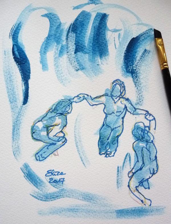 Camille Claudel dessin de la vague par elize, à l'encre crayon bleu
