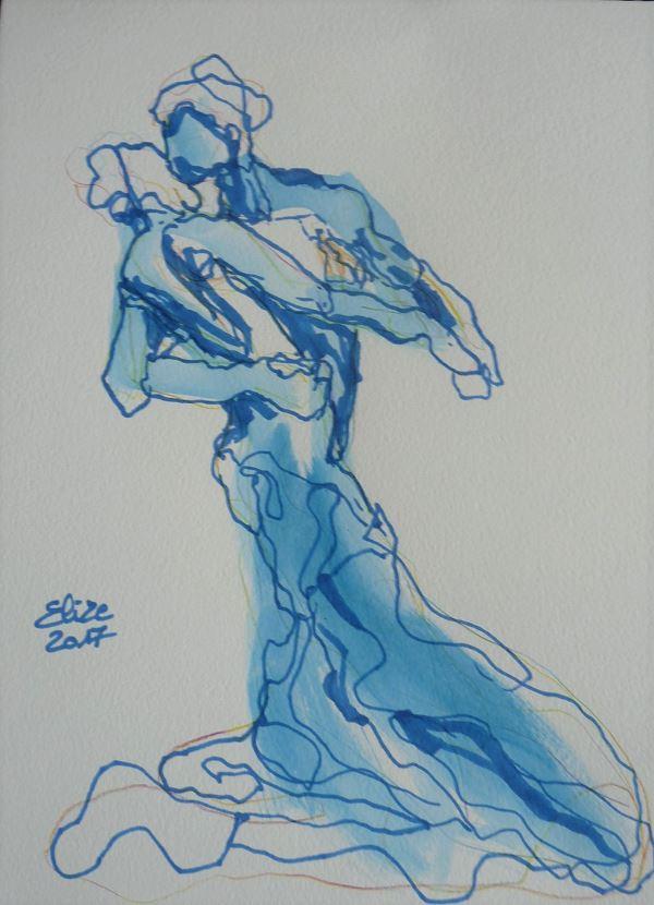 Camille Claudel dessin de la valse par elize, à l'encre crayon bleu