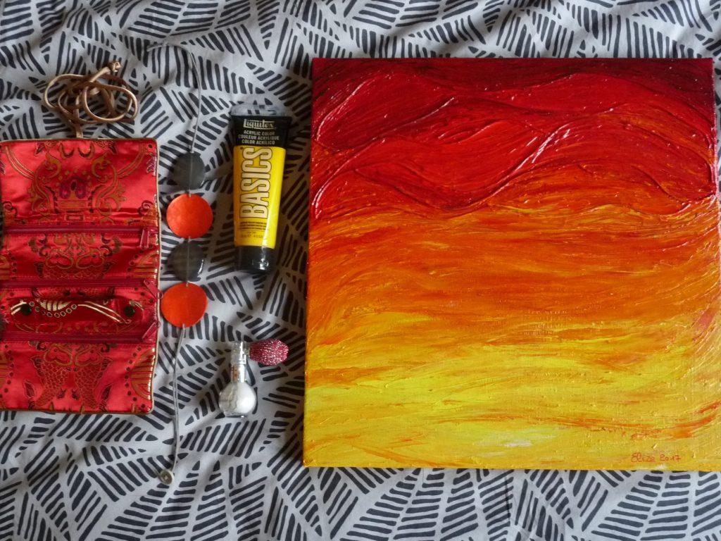 flatlay tableaux d'Elize rouge jaune peinture