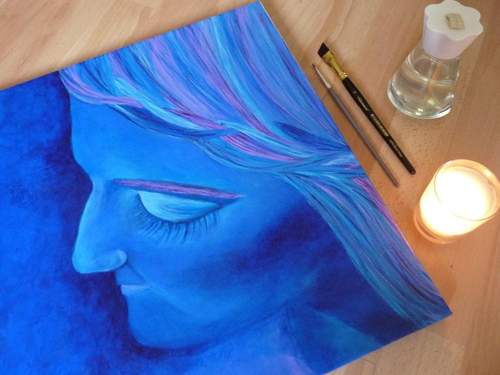 flatlay tableaux d'Elize tresse bleues bougie pinceau