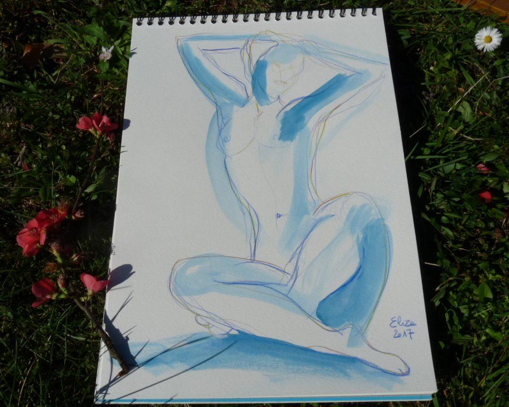 dessin femme assise en tailleur trait et encre bleue carnet elize