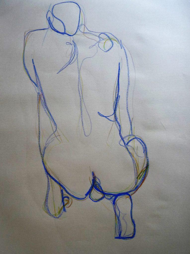 homme nu accroupi trait bleu dessin elize pourquoi le nu en art