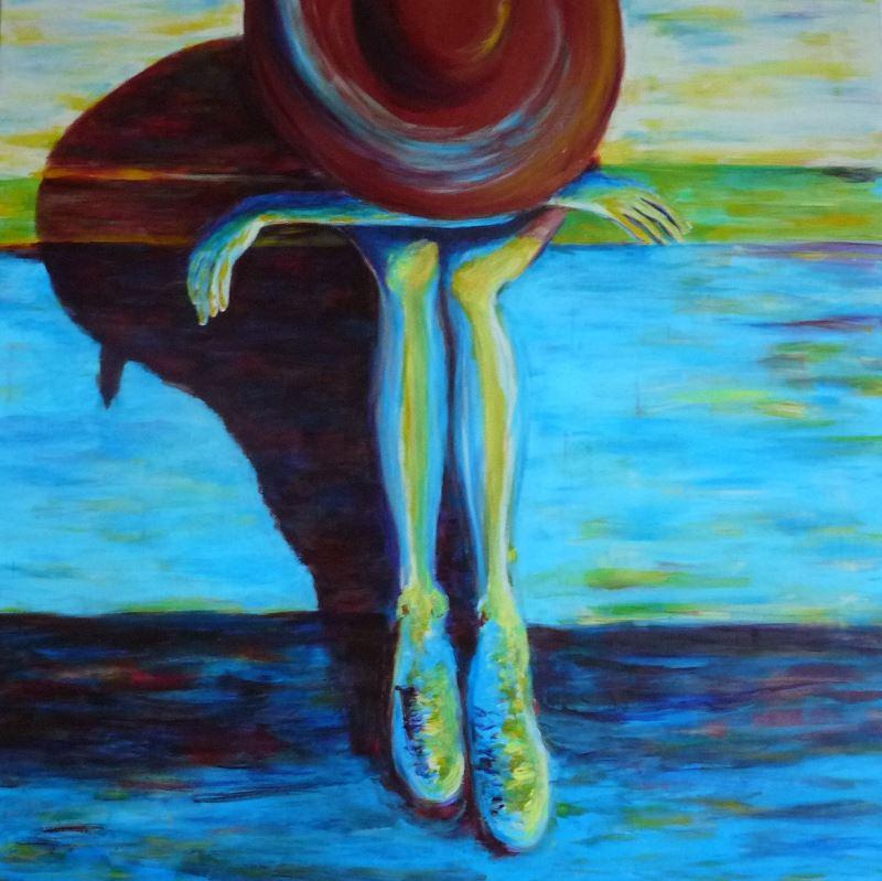 femme chapeau assise tableau elize pigmentropie