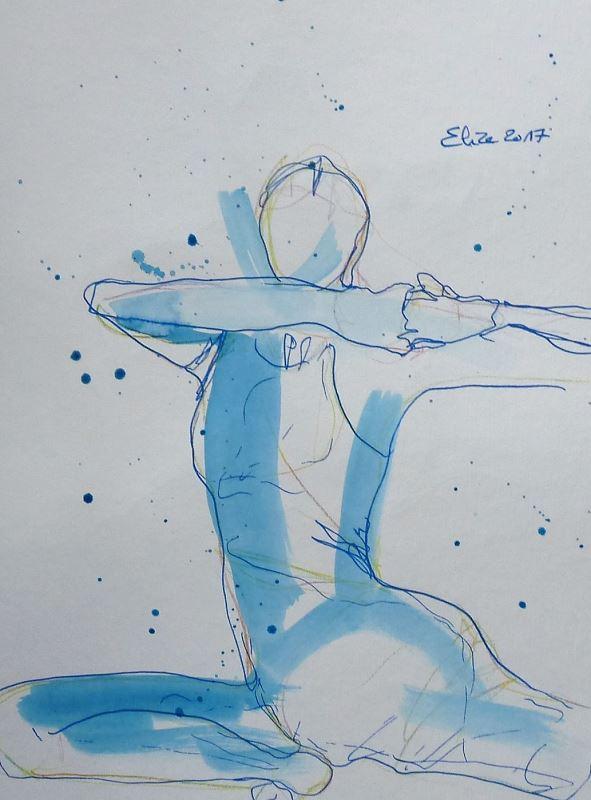 yoga posture dessin encre pinceau elize