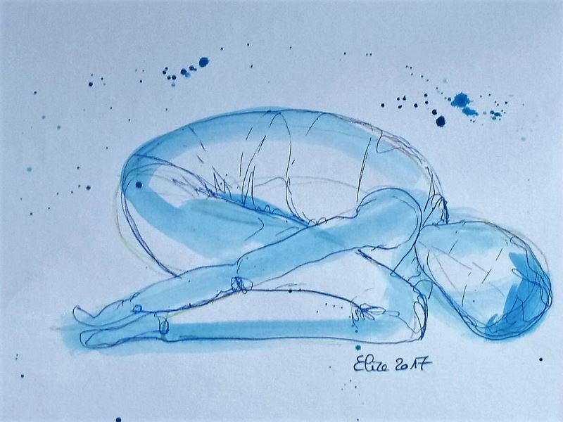 yoga posture enfant dessin encre pinceau elize