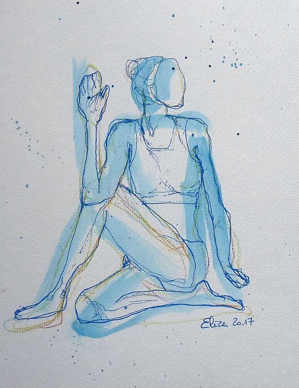 yoga posture torsion dessin encre pinceau elize