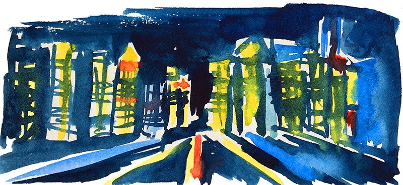 new york aquarelle pauline nuit