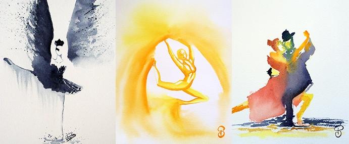 danse aquarelle pauline couleur