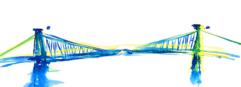 pont aquarelle new york bleu
