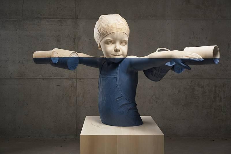 willy verginer sculpture en bois enfant conserve couleur sur