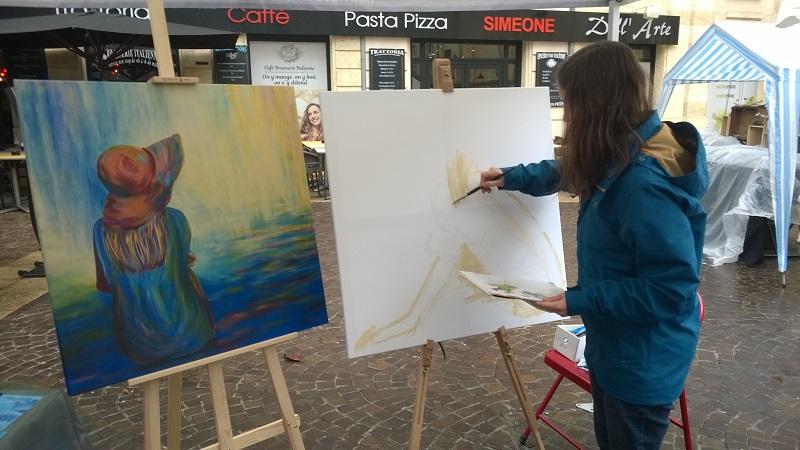 elize artiste peintre peindre en public tableau marché