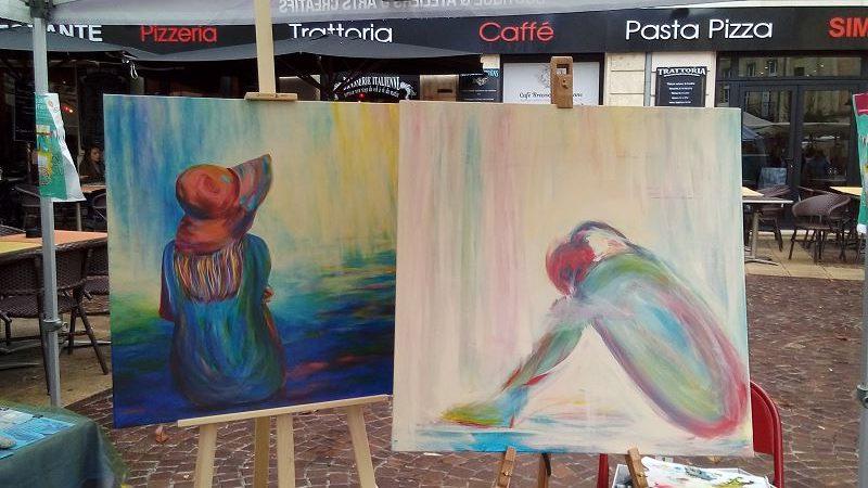 peinture femme impressionniste elize artiste peintre peindre en public tableau marché