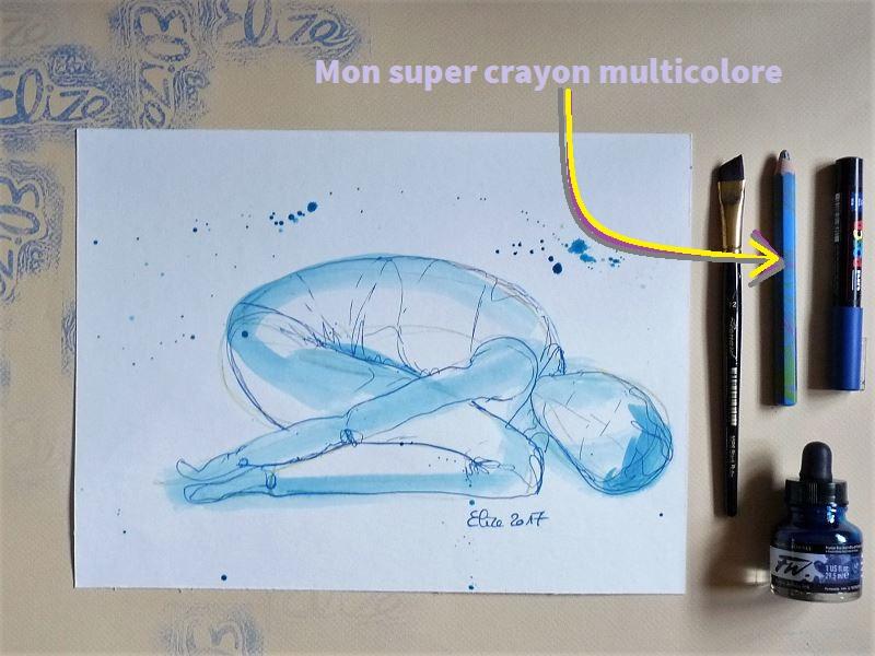 yoga dessin elize pigmentropie gros crayon multicolore pinceau encre posca crayon