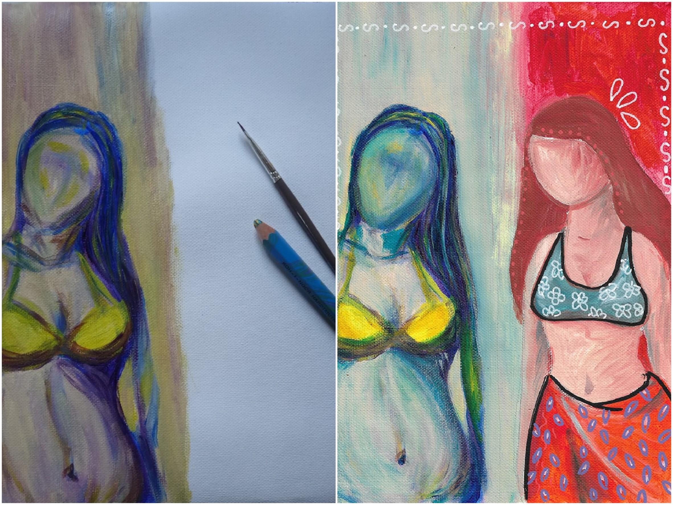 femme bikini maillot de bain peinture collective