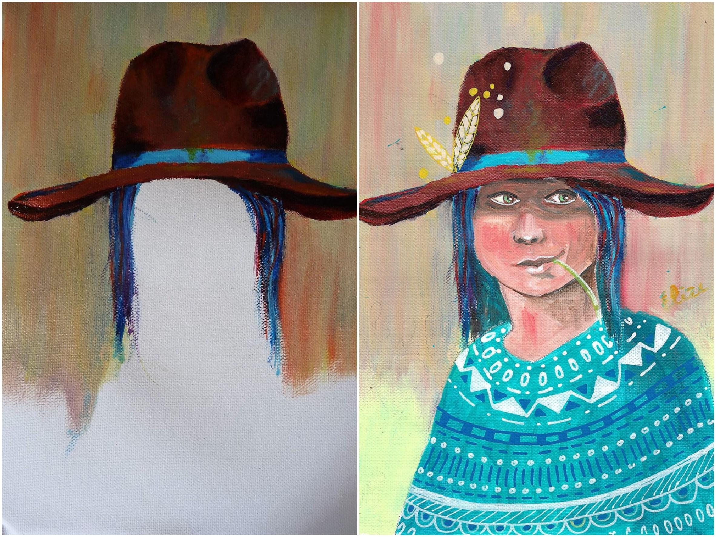 chapeau indien peinture collective
