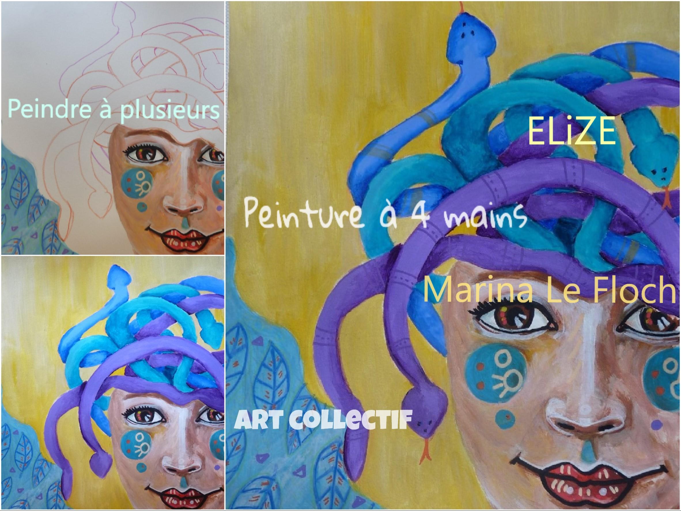 peinture à 4 main Elize Marina Le floch art collectif peinture