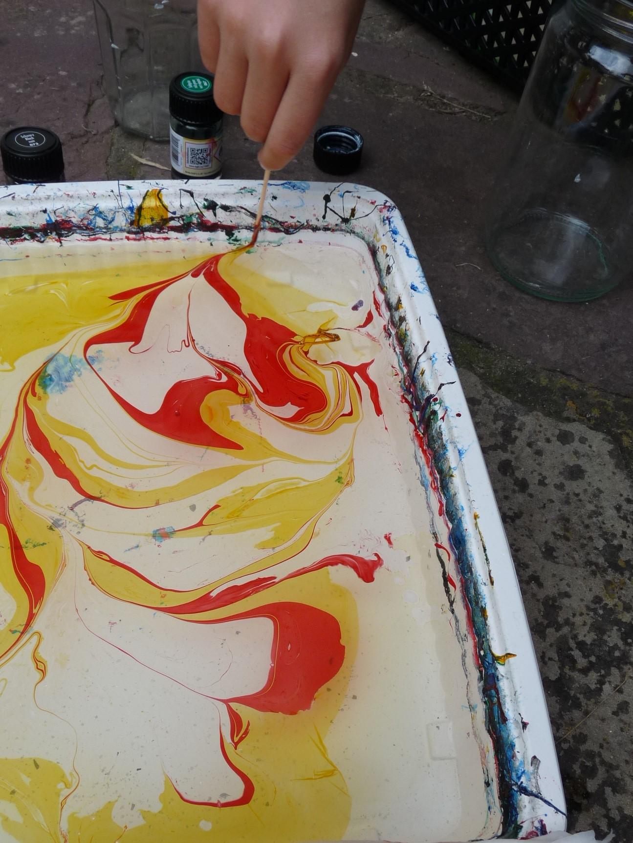 peinture marbrée pique melange elize pigmentropie enfants