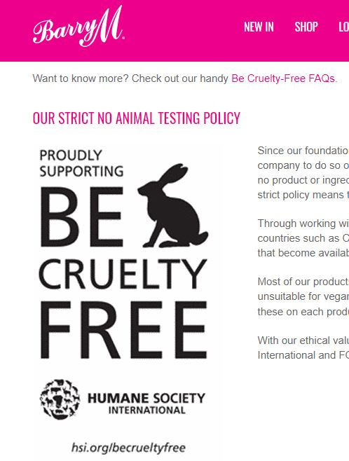 barry m be cruelty free cosmetique