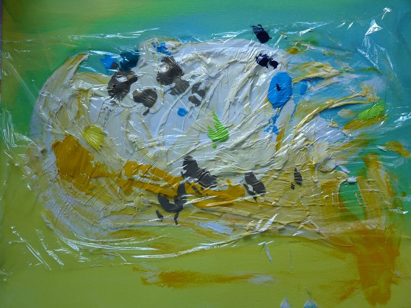 peinture peindre avec du film alimentaire film etirable peinture acrylique elize pigmentropie