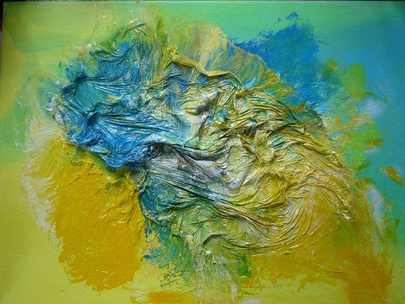 peinture peindre avec du film étirable film alimentaire peinture acrylique elize pigmentropie bleu jaune