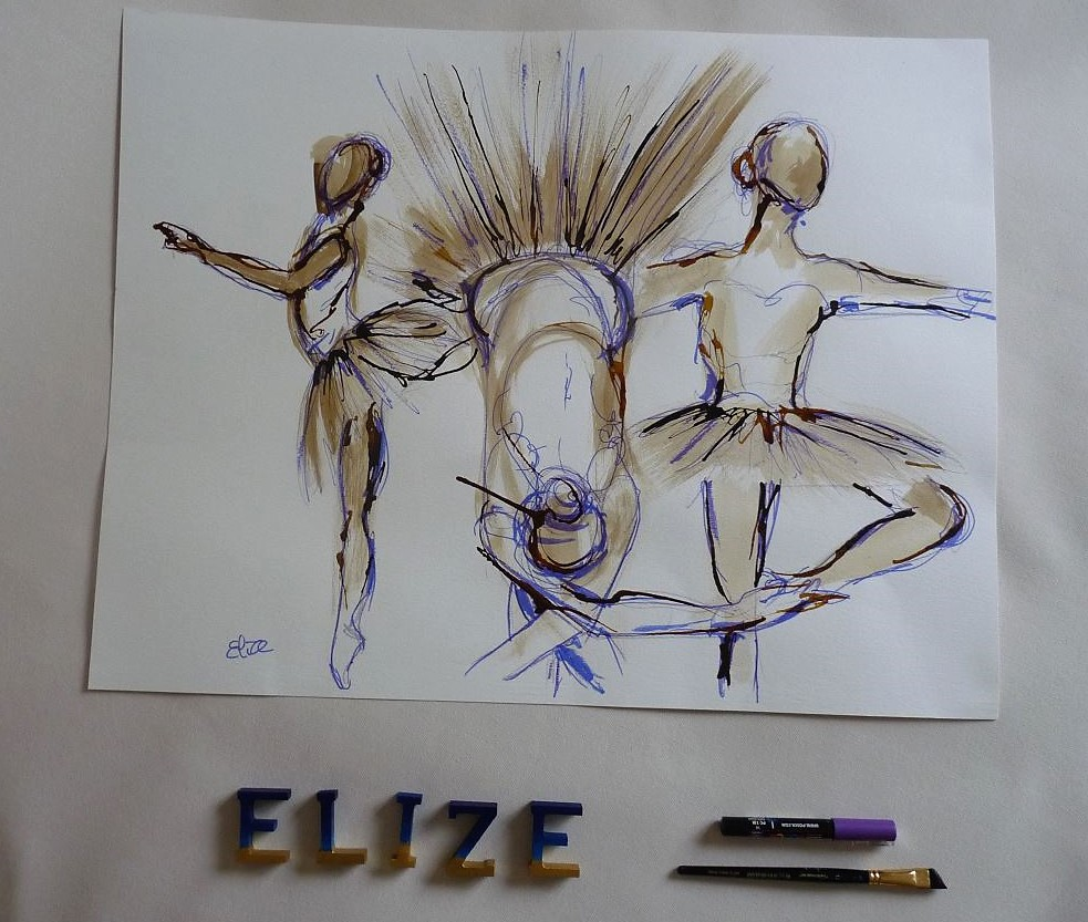 dessins danse danseuse esquisse elize pigmentropie elize tutu classique révérence